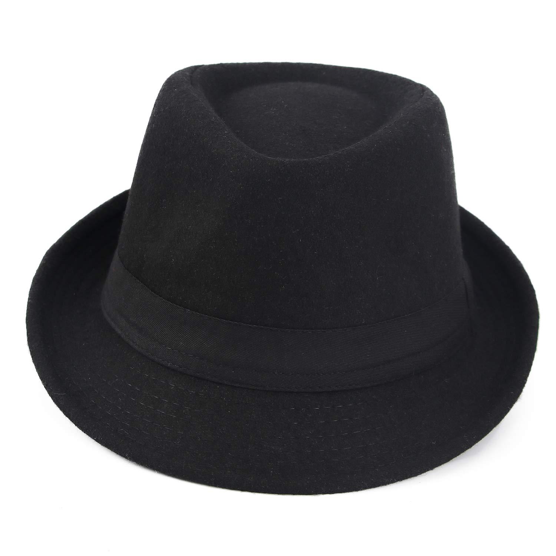 Melesh Unisex Classic Trilby Fedora Hat (Black) by Melesh (Image #3)