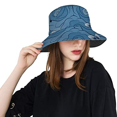 3c8e98f2855 Blue Rose Seasonal Elegant Flowers New Summer Unisex Cotton Fashion Fishing Sun  Bucket Hats for Kid