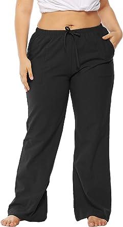 Amazon Com Besuma Pantalones De Trabajo Para Mujer Talla Grande Elasticos Casuales Clothing