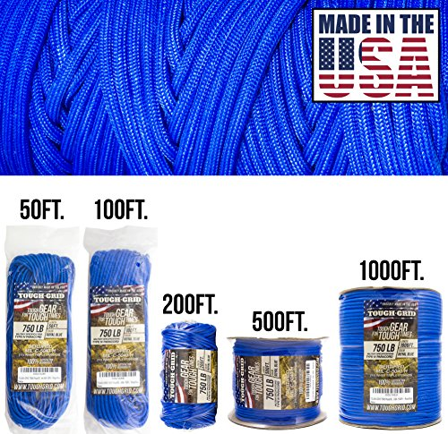(TOUGH-GRID 750lb Royal Blue Paracord/Parachute Cord - Genuine Mil Spec Type IV 750lb Paracord Used by the US Military (MIl-C-5040-H) - 100% Nylon - Made In The USA. 200Ft. - Royal Blue)