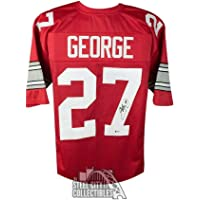 $212 » Eddie George Signed Jersey - Custom Red Football BAS COA - Beckett Authentication - Autographed College Jerseys