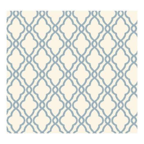 Waverly Trellis - York Wallcoverings WA7706 Waverly Classics Hampton Trellis Wallpaper, Delft Blue/Pure White by York Wallcoverings