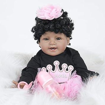 SONGXM Reborn Bebé 23 pulgadas realista simulación muñeca suave silicona recién nacido muñeca bebé 58 CM camisa negra renacer muñeca juguetes para niños regalo de Navidad regalo de cumpleaños: Amazon.es: Bricolaje y