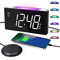 Super Loud Alarm Clock with Bed Shaker for Heavy Sleepers, Deaf and Hard of Hearing, 7'' Large LED Screen Full Dimmer…