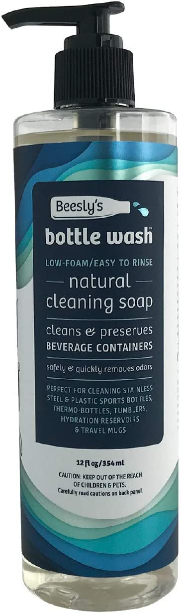 Beesly's Bottle Wash Natural Daily Sports Bottle & Container Cleaning Soap, Biodegradable & No Chlorine Safely & Quickly Cleans & Removes Odors from Reusable Bottles-Cleans Over 200 CONTAINERS! 12oz
