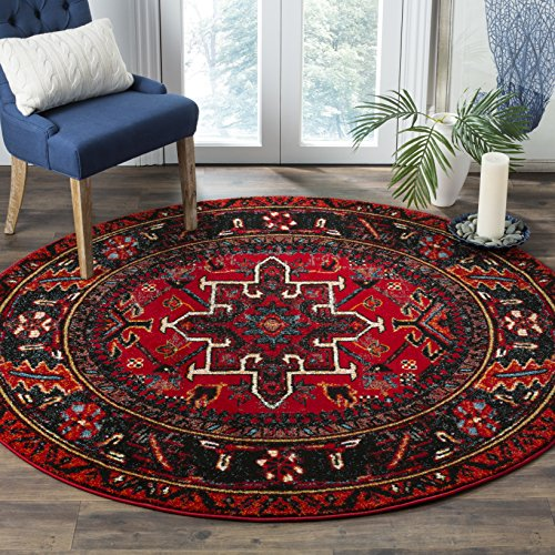 Safavieh Vintage Hamadan Collection VTH211A Red and Multi Round Area Rug (5'3