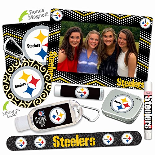 Pittsburgh Steelers Deluxe Variety Set with Nail File, Mint Tin, Mini Mirror, Magnet Frame, Lip Shimmer, Lip Balm, Sanitizer. NFL gifts for women Mother's Day, Stocking Stuffers -