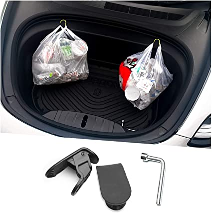 DESLE Tesla Model 3 Accessories Premium Model 3 Frunk Hooks Compatible for Tesla Model 3 Grocery Hooks Keep Grocery Organized and Clean 2PCS Only For Year 2020 And 2021
