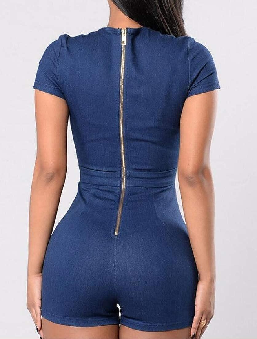 Hajotrawa Womens Criss Cross V Neck Cut Out Denim Short Zip Front Elegant Jumpsuit Romper