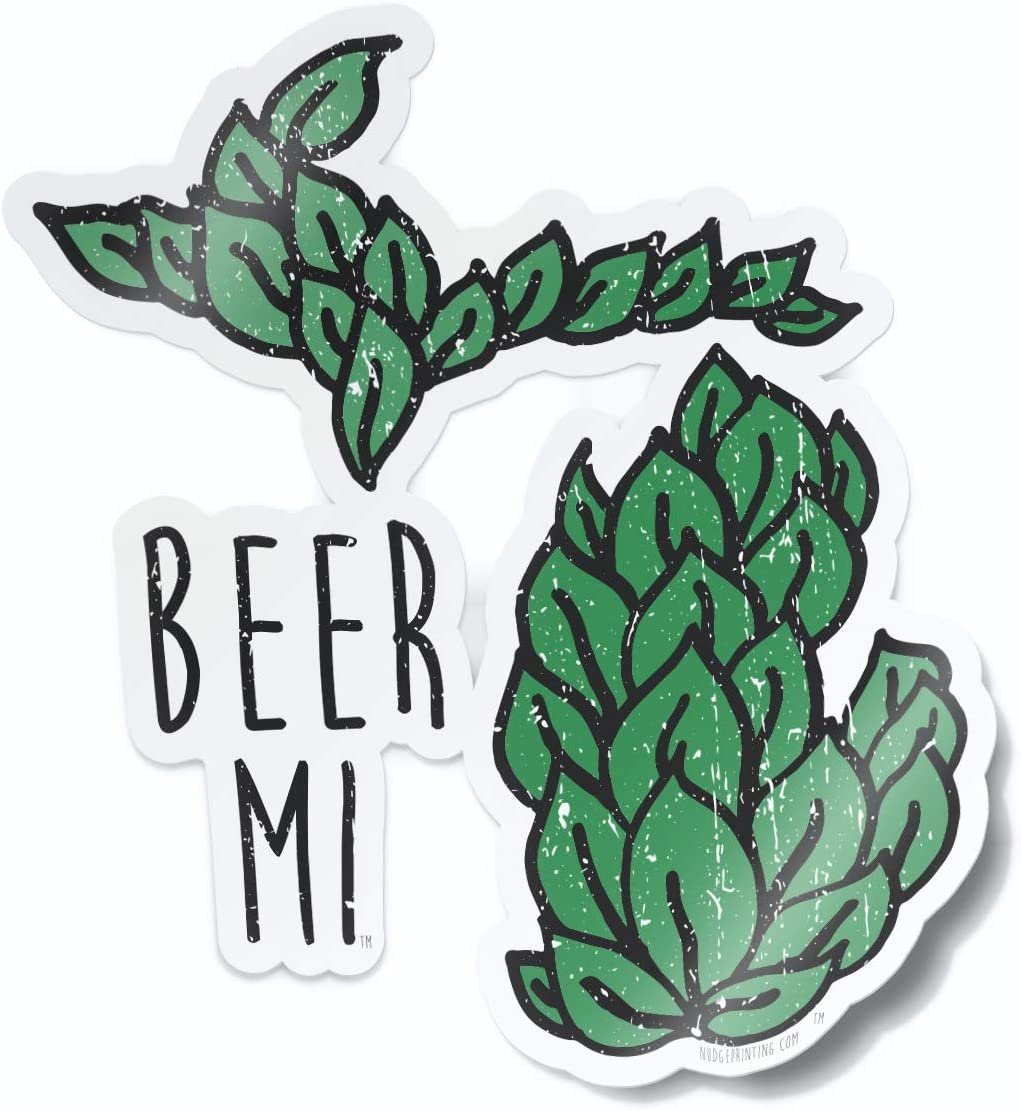 Nudge Printing Michigan Beer MI Craft Beer Hops Car Decal Laptop Sticker