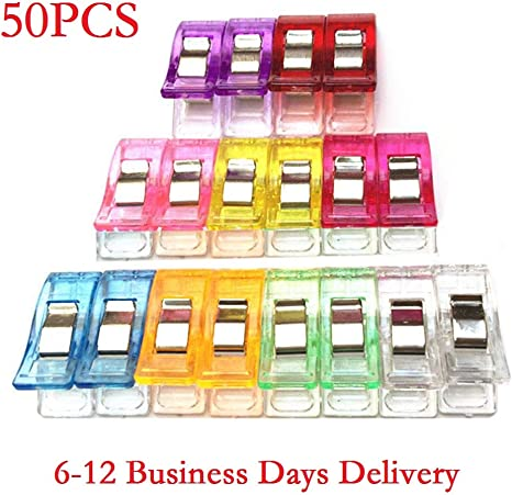 50Pcs Sewing Clips Craft Quilt Binding Plastic Clip Clamps Clear Blue Quilting Accessories Tools