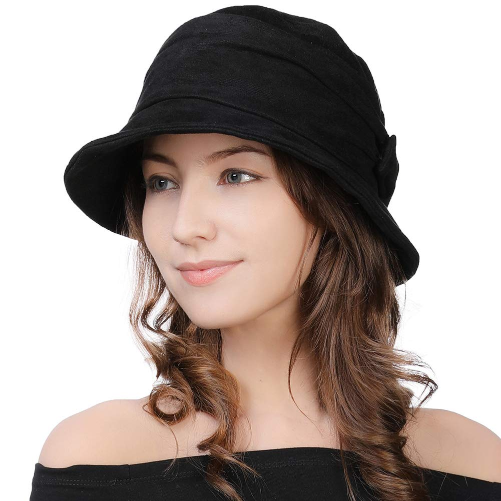 Womens 1920 Vintage Fedora Bowler Cloche Bucket Church Derby Party Hat Fall Winter Floppy Ladies Black by Comhats