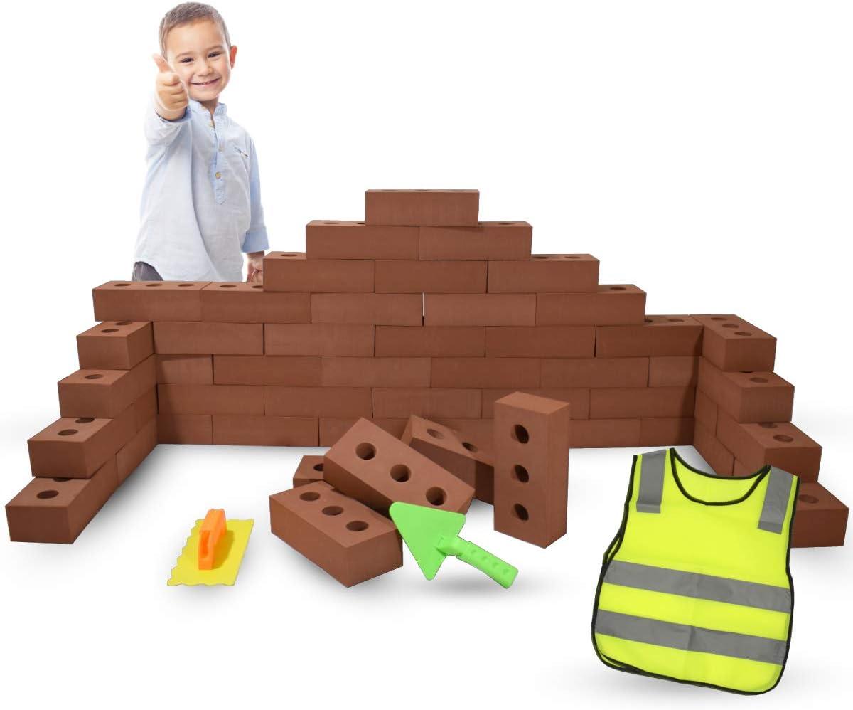 Bloques de Construcción Gigantes de Goma EVA, Juegos de Construcción para Niños 25 o 50 Piezas, Kits de Ladrillos Para Grandes Construcciones Infantiles de Castillos y Torres Grandes