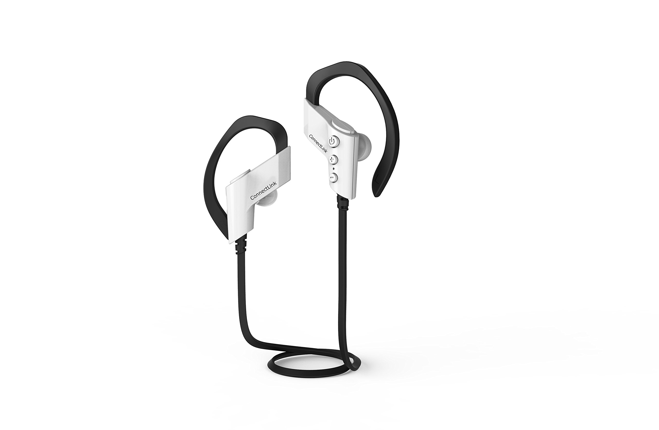 ConnectLink Bluetooth Headset Sport Headphone Portable Earphone Wireless Stereo Outdoor Running Headphones Headsets w/Microphone White