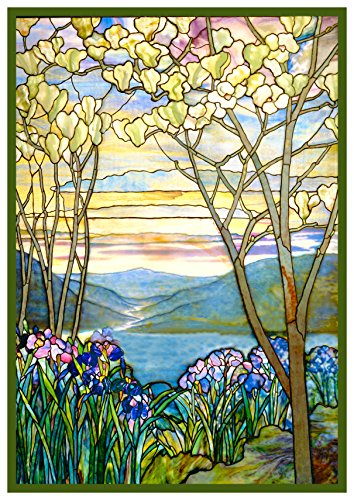Orenco Originals Iris Flowers and Magnolia Trees inspired by Louis Comfort Tiffany Counted Cross Stitch Pattern Tiffany Magnolia