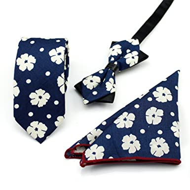 FlowerKui Conjunto de corbata de algodón con estampado de flores ...