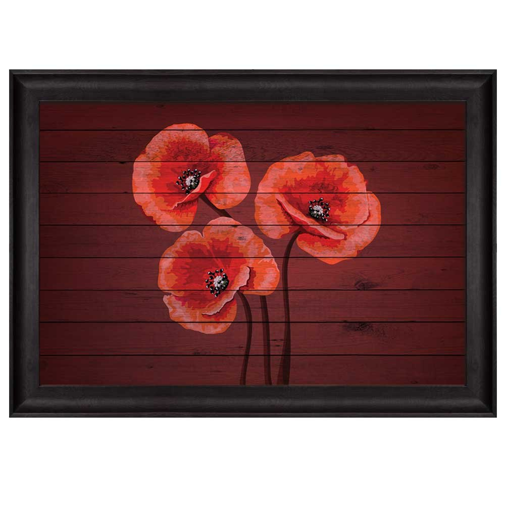Bouquet of red poppy flowers on cherry wood panels nature framed art bouquet of red poppy flowers on cherry wood panels nature framed art mightylinksfo