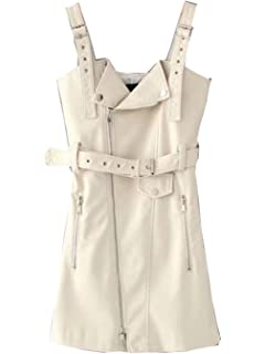 Ygosoon PU Leather Women Dress Vintage Mini Dresses Slim V Neck Zipper Sundress