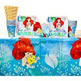 The Little Mermaid Ariel Dream Big Party Supplies Pack for 16 Guests: Straws, Dessert Plates, Beverage Napkins, Cups, and Table Cover