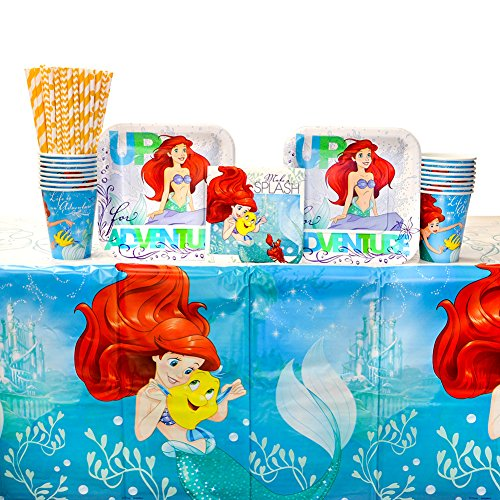 The Little Mermaid Ariel Dream Big Party Supplies Pack for 16 Guests: Straws, Dessert Plates, Beverage Napkins, Cups, and Table Cover -
