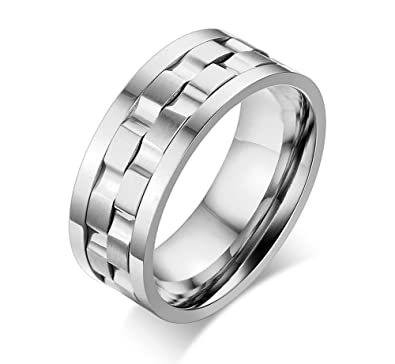 stainless steel brick gear design spinner mens wedding rings band 9mm width tone - Gear Wedding Ring