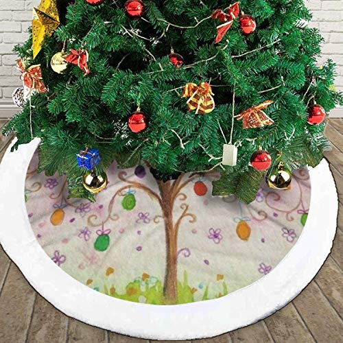 Decor Easter Flowering Tree with Eggs Birds White Fluffy Christmas Tree Skir 48inches,The Perfect 3 Kinds of Size£