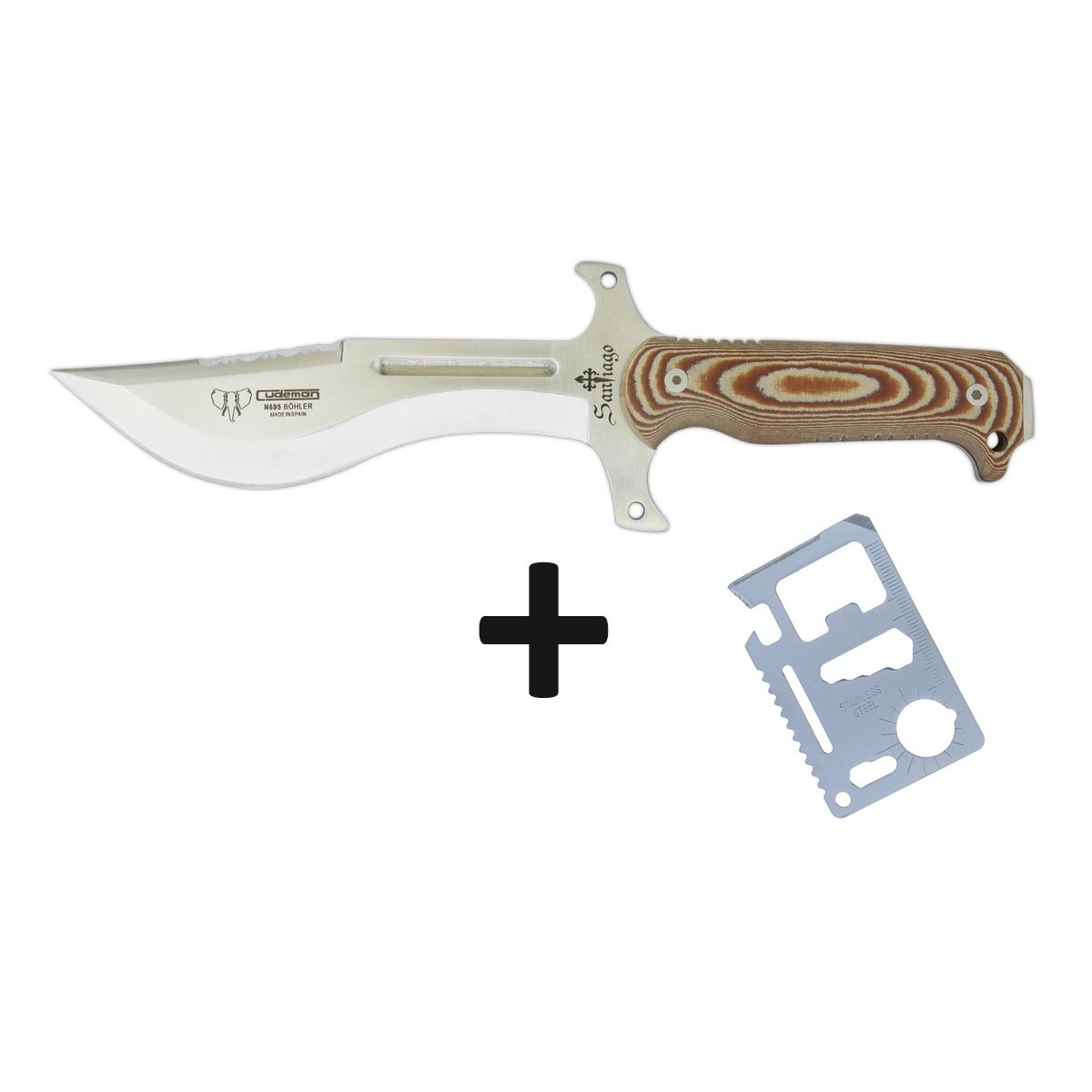 Survival Fixed blade knife Cudeman 145-X Mod Santiago with Micarta handle brown/ 29.7 cm total length Black