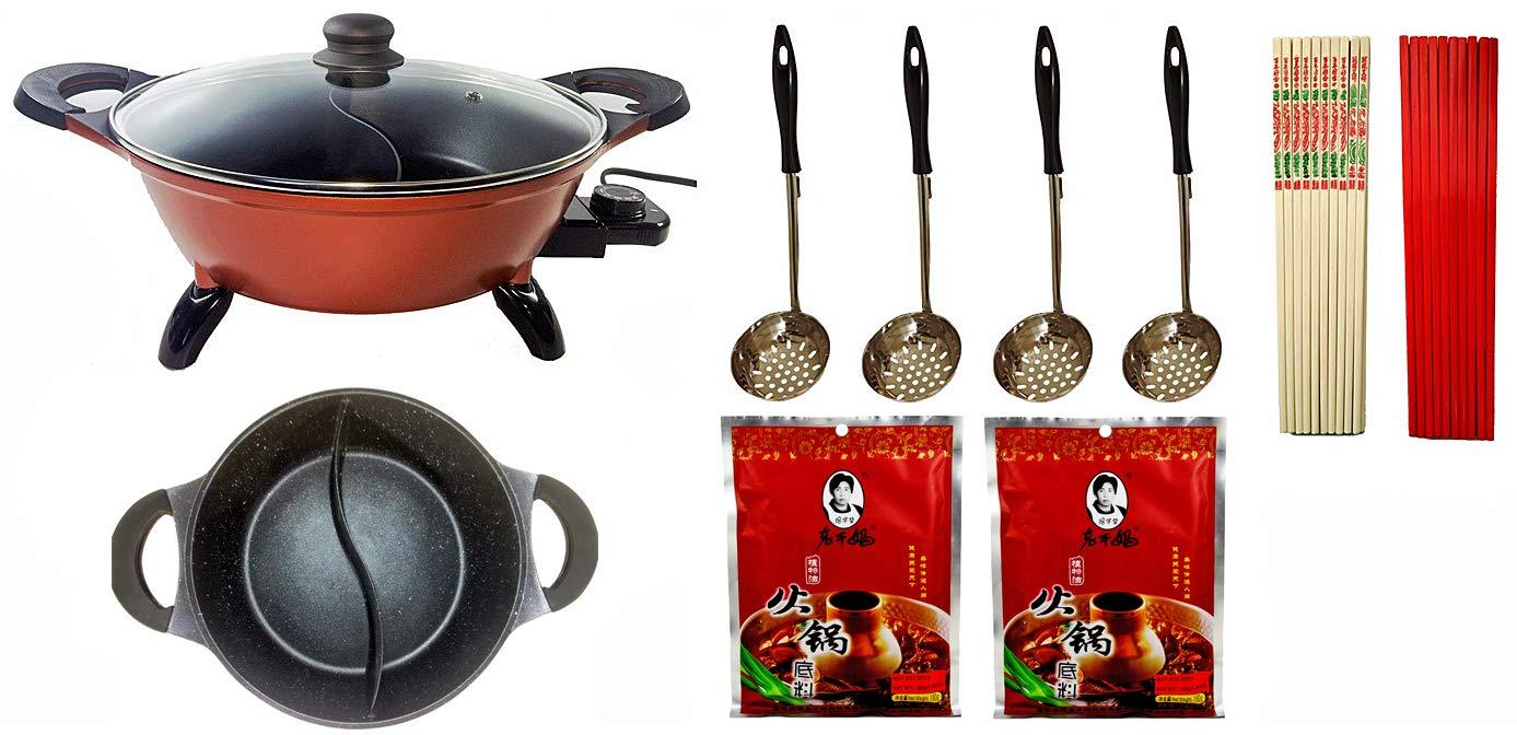 Deluxe 4-Liter Hot Pot Starter Kit with Non-stick Divided Pot for Asian Hot Pot, Mongolian Hot Pot, Japanese Shabu-Shabu. Includes Hot Pot, Strainers, Chopsticks & Seasoning Packets