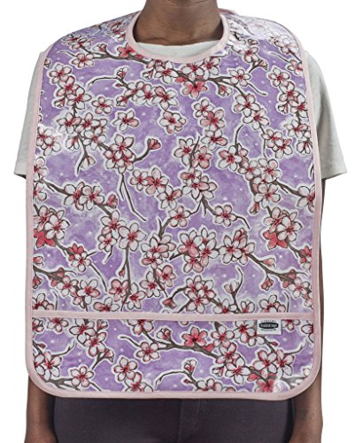 Freckled Sage Adult Oilcloth Bib Cherry Blossom - Lavendar Apparel