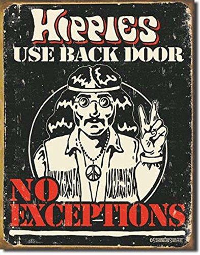 HIPPIES USE BACK DOOR...NO EXCEPTIONS PEACE BEACH METAL 12.5