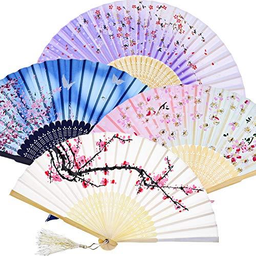 Oriental Folding Fans - Zonon Handheld Floral Folding Fans Hand Held Fans Silk Bamboo Fans with Tassel Women's Hollowed Bamboo Hand Holding Fans for Women and Men (White, Pink, Blue, Purple)