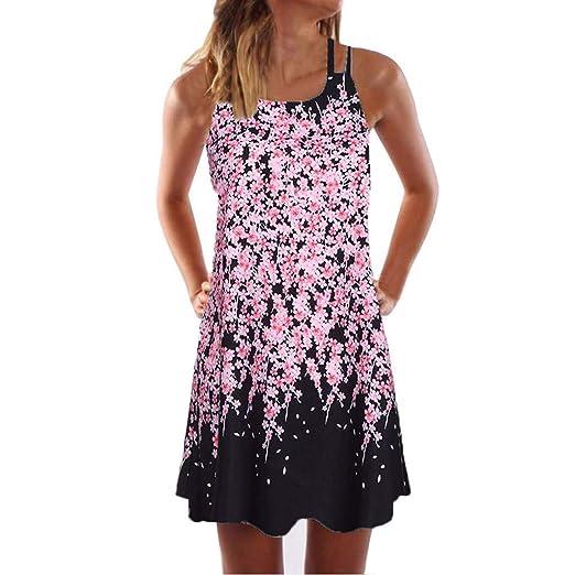 2461ba2eeb Wobuoke Fashion Womens Dress Summer Casual O-Neck Boho Sleeveless Floral  Printed Beach Mini Dress