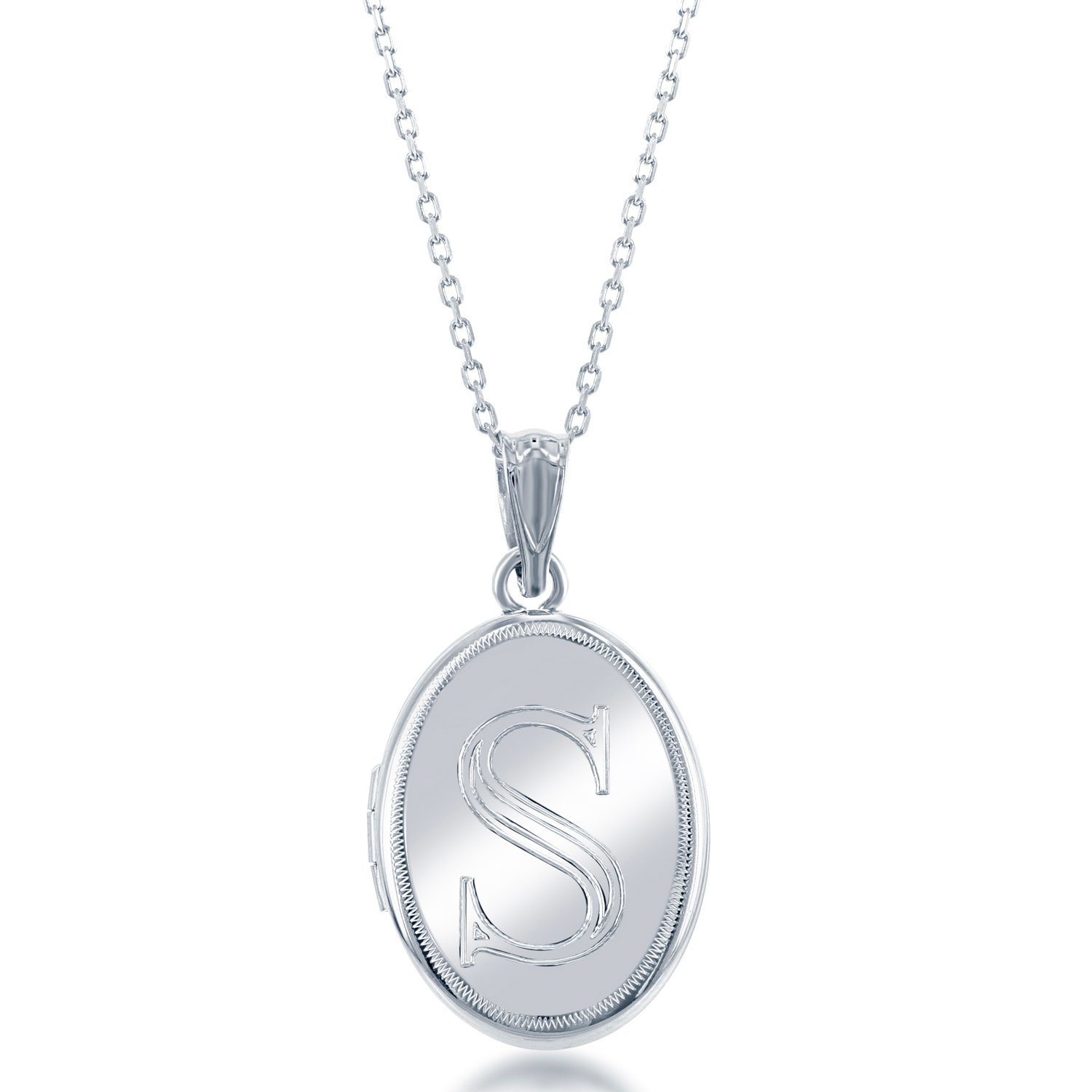 Sterling Silver High-Polish Initial ''S'' Oval Locket with 18'' Chain
