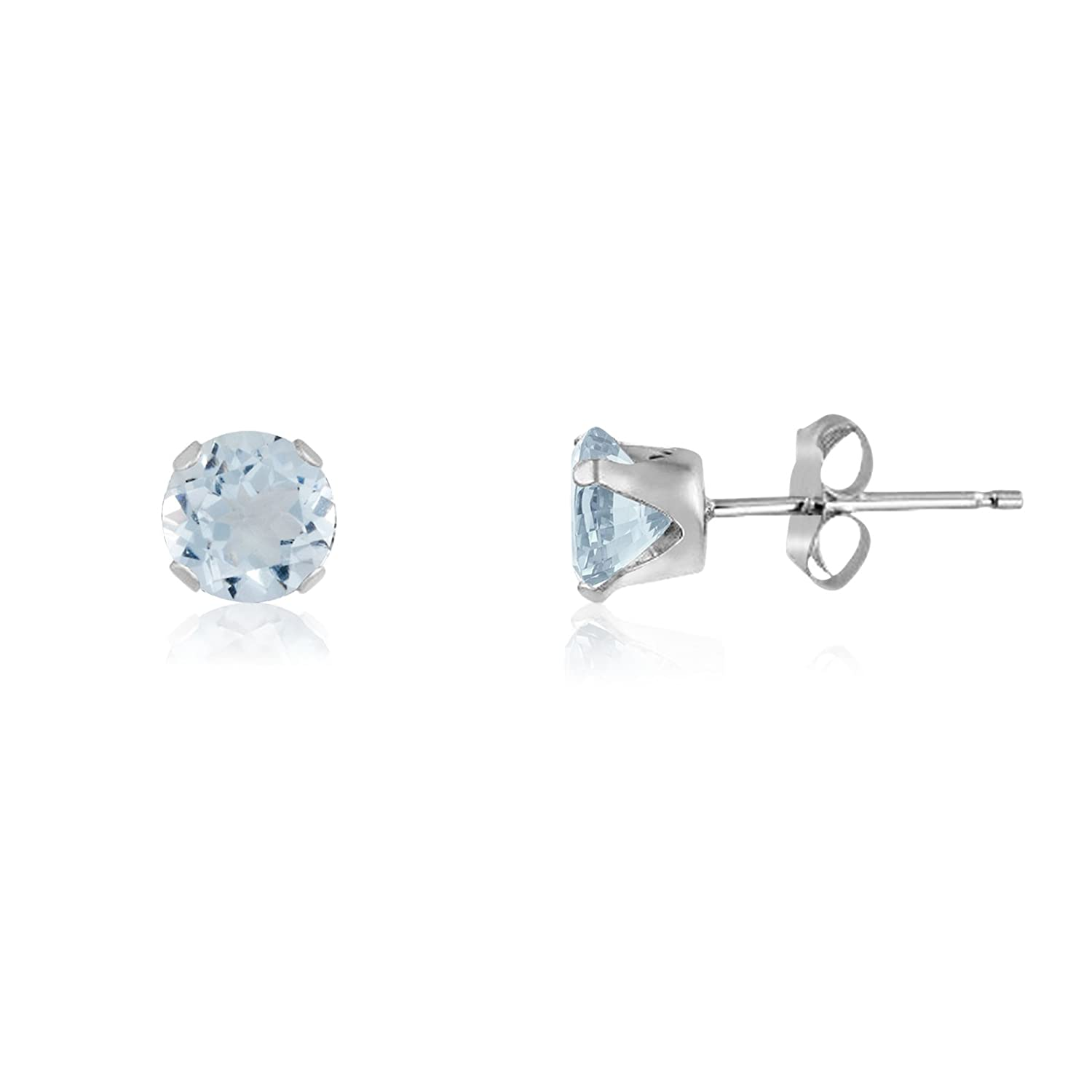 14k Yellow or Rose Goldplate Round 3mm Simulated Aquamarine Stud Earrings Sterling Silver 0.2 cttw