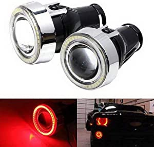 iJDMTOY 3-Inch Projector Fog Light Lamps w/ 40-SMD Brilliant Red LED Halo Angel Eyes Rings Compatible With Any Car SUV Truck