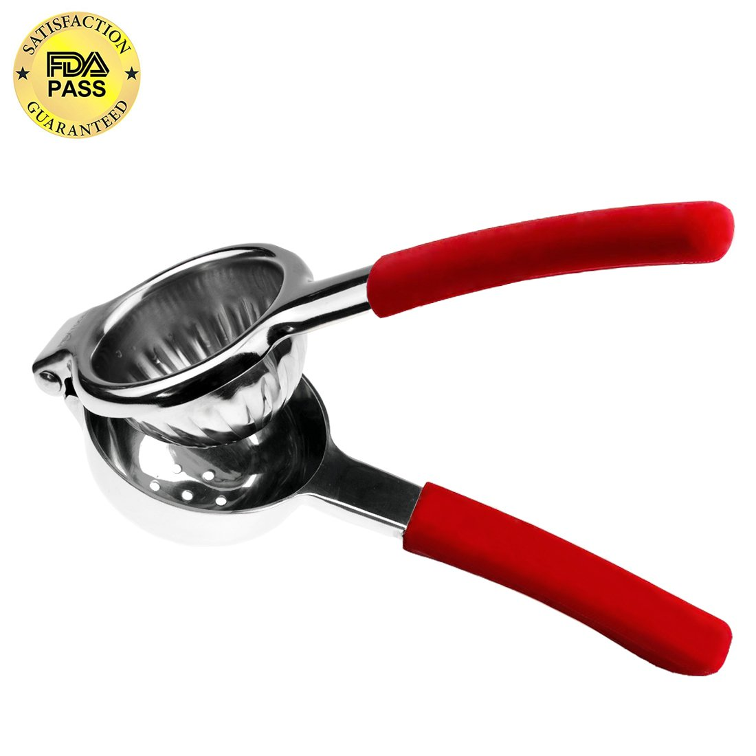 Vilapur Lemon Squeezer, Top Rate Premium Quality 304 Stainless Steel with Silicone Handles (Red)
