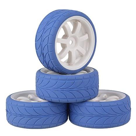 mxfans blanco 7 radios rueda de plástico borde + azul flecha patrón neumático de caucho para