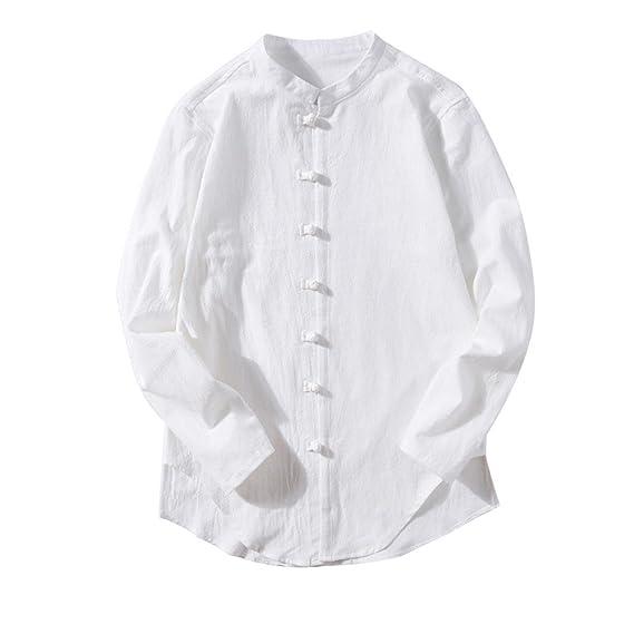 Camiseta para Hombre,BBestseller Manga Larga Camisa de Manga Larga de Manga Larga de para Hombres Buton Linen Solid Blouse para Hombres Blouse de Camiseta ...
