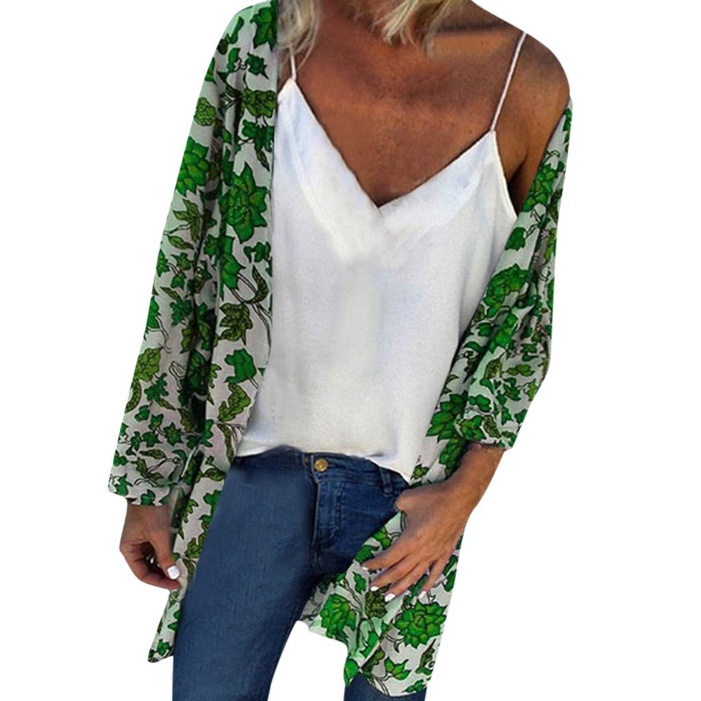F_topbu Womens Floral Kimono Cardigans Loose Summer Beach Cover up Long Sleeved Casual Blouse Tops Green