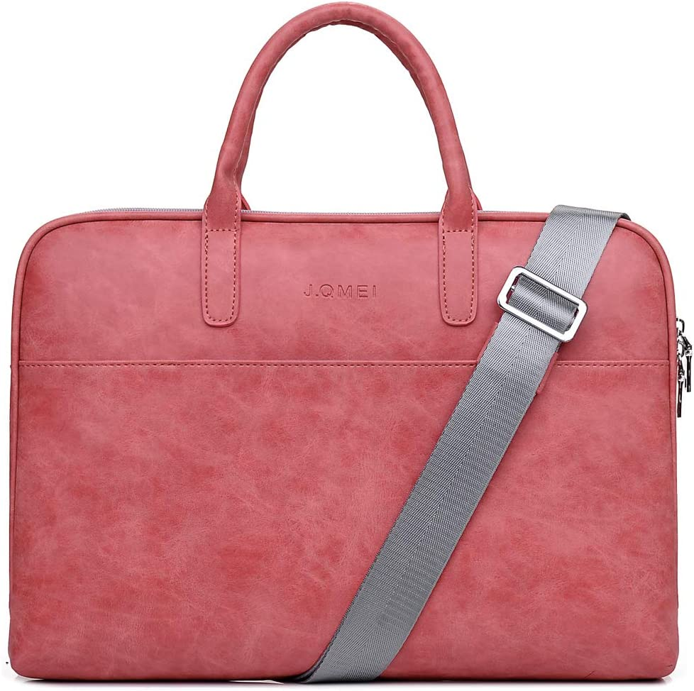 SHUL Leather Laptop Shoulder Bag 14.6 inch Computer Case Sleeve Business Office Briefcase Messenger Bags Handbag for Women Ladies Red