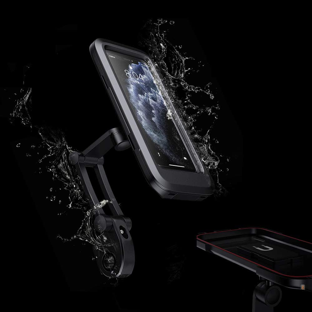 Height Adjustable for iPhone Samsung Galaxy Huawei 6.7 360/° Rotation Waterproof Smartphone Holder with Touch Screen Black Compatible with Bicycle Motorcycle Bicycle Mobile Phone Holder