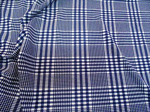 Plaid Fabric Glen (Fabric Printed Liverpool Textured 4 Way Stretch Scuba Glen Plaid Navy White H303)
