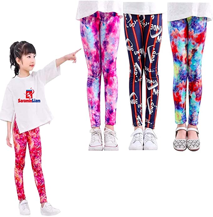 SARAMIN LIAM 2//3 Packs Tights Full Printed Stretch Girls Leggings Pants Kids and Children in S,M,L,XL 5-12 Years Old