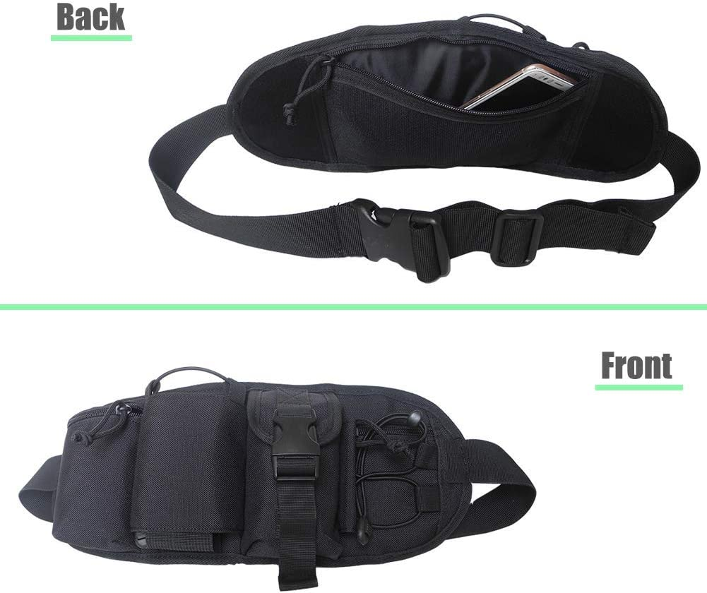 Fanny Pack Tactical Waist Bag Travel Pocket Running Pouch Belt,Multi-Function Pockets Water Bottle Holder Adjustable Band for Workout Vacation Hiking for Men Women iPhone Galaxy Google Pixel