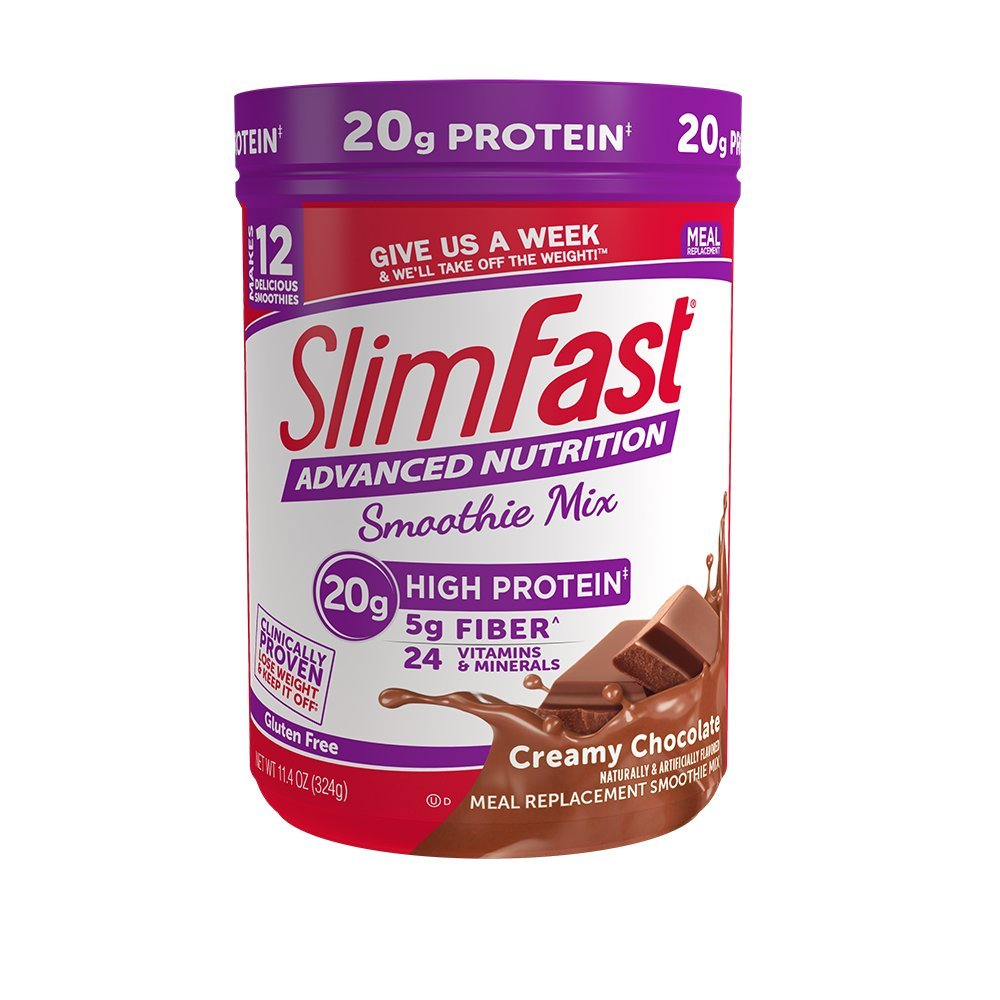 SlimFast Advanced Nutrition Creamy Chocolate Smoothie Mix - Weight Loss Meal Replacement - 20g of protein - 11.01 oz. Canister - 12 servings by SlimFast