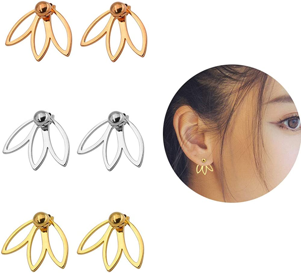 Yee Steel 3 Pairs 3 Colors Lotus Stud Earrings Lotus Flower Earring Studs Piercing Ear Jacket Stud for Women Girls