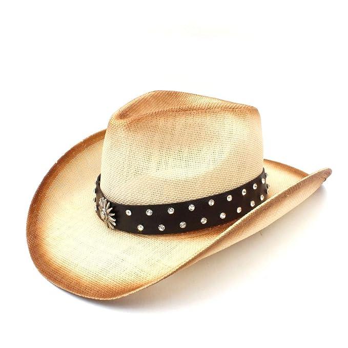 JiuRui Gorras Sombreros Sombrero de vaquero de paja occidental con banda de cuero  punk para Lady a007b6b21e0