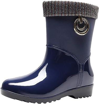 Bota Agua Mujer Jardín Trabajo Lluvia Botas Nieve Caliente Antideslizante Impermeable Casual Planas Zapatos Calzado Outdoor Fannyfuny: Amazon.es: Zapatos y complementos