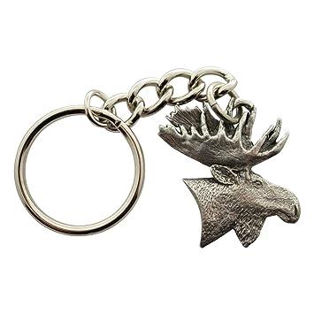 Amazon.com: Moose Head Llavero ~ Antiqued peltre ~ Llavero ...