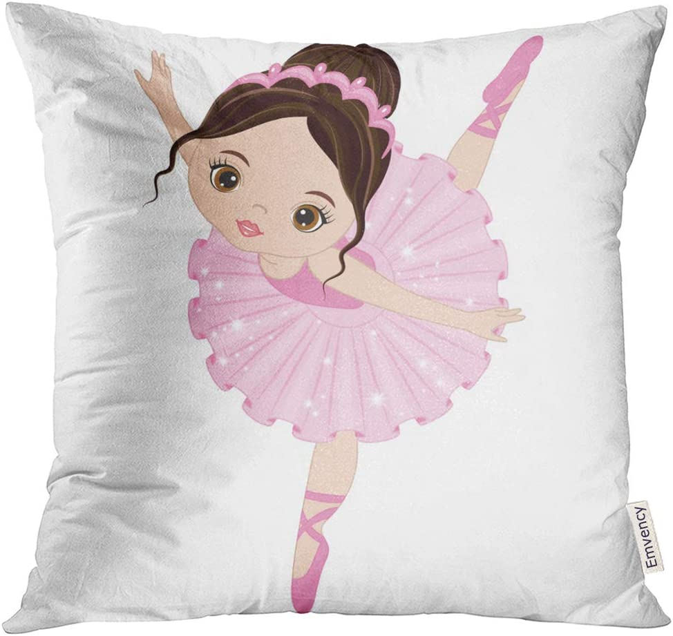 Emvency Throw Pillow Cover Ballet Cute Little Ballerina Dancing Girl in Pink Dress Cartoon Decorative Pillow Case Home Decor Square 18x18 Inches Pillowcase